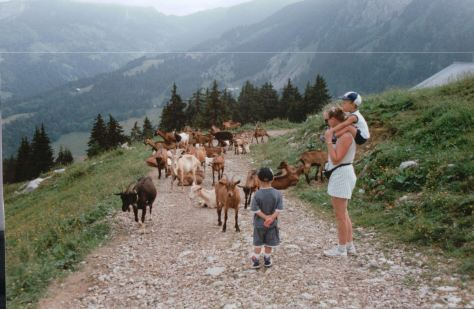 Children hiking the alps